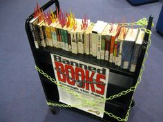 *LIBRARY DECORATION IDEA: This is one of many great examples of #BannedBooksWeek displays that librarians can use.*