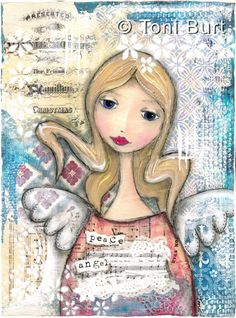 """peace angel"" - mixed media artwork by Toni Burt, features shabby vintage papers, old sheet music, a glorious girl with angel wings."
