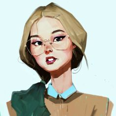 Art by Samuel Youn - Thé Illustration, Character Illustration, Illustration Girl Glasses, Character Inspiration, Character Art, Animation 3d, Art Vintage, Portraits, Portrait Art