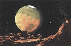 'Mars From Deimos' 1956. Hardy's description: 'The dumbell-shaped spaceship (designed by Arthur C. Clarke) shown in the previous 'space station' image has arrived, touching down lightly in the low gravity of Mars's little outer moon, Deimos. The polar cap is clearly visible, and at that time it was still considered possible that the dark areas on Mars were caused by vegetation, fed by the melting caps. On the right of the planet is Phobos, the inner moon. #mars