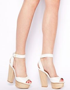Shelly's London Aaelle White Leather Wooden Platform Sandals
