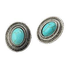 Qise Women's Inlaid Oval Turquoise Stud Earrings | Amazon.com