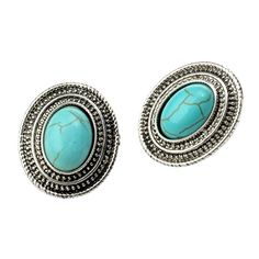 Qise Women's Inlaid Oval Turquoise Stud Earrings | Amazon.com