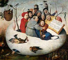 Le concert dans l'oeuf ... j'adore ! Cette oeuvre est inspirée d'un récit de Sébastien Brandt, poète rhénan qui écrit La nef des Fous en 1491. Ce récit relate la folle embarquée de l'humanité dans un navire où la passion humaine est exacerbée. Acquis en 1890 comme un original de Bosch, le Concert dans l'oeuf est en fait une copie car la partition représentée, une chanson légère de Claude Créquillon, n'a été publiée qu'en 1549. Jacques Foucart avance le nom de Pieter Brueghel le Jeune ?