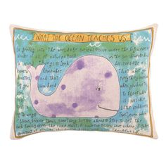 Eco-friendly pillow with a down feather fill and whimsical whale design. Product: PillowConstruction Material: Linen b...