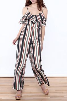 Stripe off-shoulder jumpsuit with ruffle detail and adjustable spaghetti straps.   Off-Shoulder Ruffle Jumpsuit by Flying Tomato. Clothing - Jumpsuits & Rompers - Jumpsuits New York City