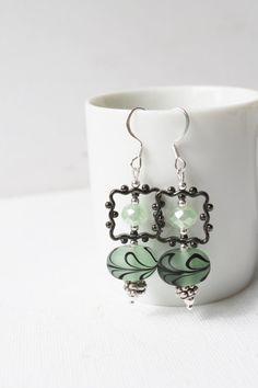 Green and Black Lampwork Earrings Jenniflair by jenniflairjewelry, $30.00