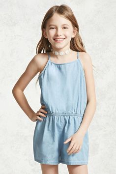 Forever 21 Girls - A chambray romper featuring adjustable cami straps, scoop neckline, an elasticized waist, and slanted front pockets.