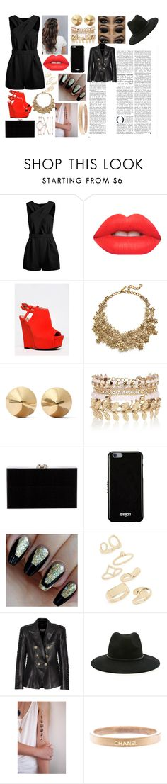 """""""Electric Feel"""" by kailawolfe ❤ liked on Polyvore featuring Lime Crime, Qupid, Oscar de la Renta, Eddie Borgo, River Island, Charlotte Olympia, Givenchy, Topshop, Balmain and Forever 21"""