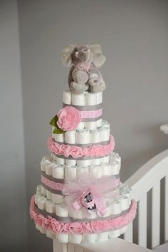 Diaper Cake: Pink and Grey with Elephant. $110.00, via Etsy.