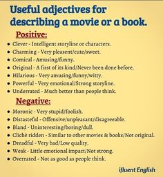 Useful adjectives for describing a movie or a book.