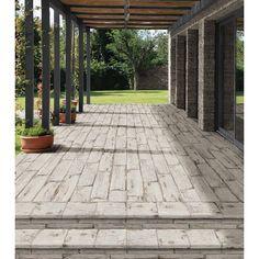 Rama x Porcelain Wood Look/Field Tile in White Porch Tile, Patio Tiles, Porch Flooring, Outdoor Tiles, Outdoor Flooring, Laminate Flooring, Wood Stamped Concrete, Concrete Patio, Cement Driveway