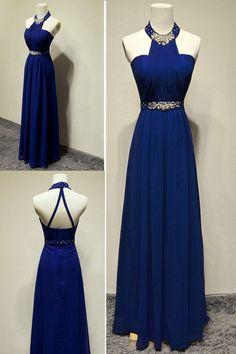 dabdf27f9e4 Delightful Prom Dresses 2019 A-line Halter Crystal Floor-Length Evening Prom  Dress. BekleidungKleiderNackt ...