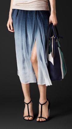 Dégradé Silk Crépon Gathered Skirt | Burberry