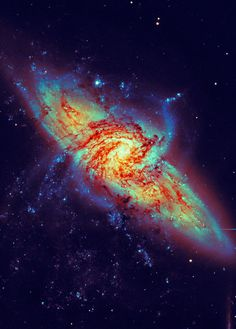 NGC 3314 is a pair of overlapping spiral galaxies between 117-140 million light years away in the constellation Hydra.