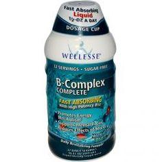 Wellesse Premium Liquid Supplements, B-Complex Complete, Blueberry Pomegranate Flavor, 16 Fl Oz (480 Ml), Diet Suplements 蛇