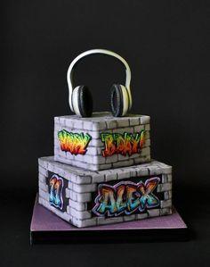Graffiti Cake Hand painted, all edible. Graffiti Cake Hand painted, all edible. Teen Boy Birthday Cake, Birthday Cakes For Teens, Happy Birthday Cakes, Birthday Cookies, 13th Birthday, Birthday Ideas, Graffiti, 90 Party, Teen Boy Cakes