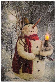This Woodland Snowman Lit Canvas shows a snowman holding a candle which glows with a flickering LED to provide a warm, inviting glow. It measures 10-7/8 inches wide x 16-5/8 inches high and requires 2