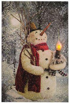 Woodland Snowman Lit Canvas