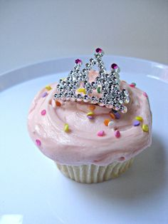 Mini Tiara Princess Crown Cupcake Topper by TheGlitterShoppe, 12- $6.00