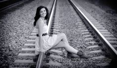 Black and white high school senior girl portraits done on the rail road tracks in Colorado Springs, CO by Black Forest Photography http://www.blackforestphoto.com