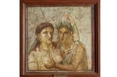 Pompeii exhibition at British Museum Fresco showing a satyr and maenad in an intimate embrace Pompeii, House of Caecilius Iucundus
