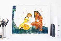 Disney Tarzan and Jane tarzan watercolor tarzan by ArtQuality