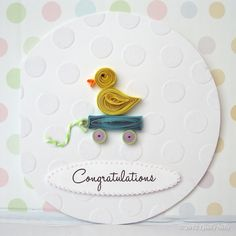 Paper Quilled Baby Ducky Card by QuillyNilly on Etsy, $7.00