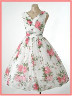 50s/60s Rose Print Chiffon Tea Length Party Dress