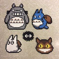 Totoro set perler beads by caitlondiescrafts