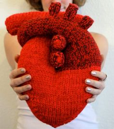 Fancy - Anatomical Heart Pillow - Actually knitted but I love this. Person did a great job on this heart and it actually looks big enough to snuggle. Love Knitting, Hand Knitting, Knitting Patterns, Crochet Patterns, Knitting Projects, Crochet Projects, Knitted Heart, Heart Pillow, Heart Cushion