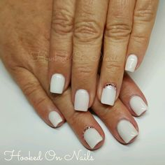 White nails, short, natural, square oval shaoe, swarovski crystals