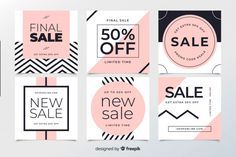 Abstract sale web banners for social media Free Vector Banner Design Inspiration, Web Banner Design, Web Banners, Design Web, Instagram Grid, Instagram Design, Social Media Template, Social Media Design, Sale Signage