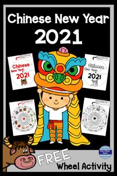 Chinese New Year 2021 is the year of the Ox! Help your students understand this widely celebrated holiday with this FREE wheel. Print on card stock. Use a fastener to attach cover, spin and find the year you were born! #chinesenewyear #chinesenewyear2021 #chinesenewyearactivities #chinesenewyearactivitiesforkids #teacherspayteachers #coast2coastteacher