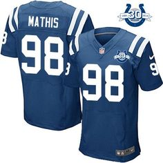 """$23.88 at """"MaryJersey""""(maryjerseyelway@gmail.com) Nike Colts #98 Robert Mathis Royal Blue Team Color With 30TH Seasons Patch Men's Embroidered NFL Elite Jersey"""