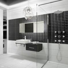 Black and white bathroom, Deante. Laundry In Bathroom, White Bathroom, Small Bathroom, Bathroom Ideas, Walk In, Bathroom Interior Design, Malaga, Toilet, Bathtub