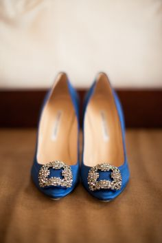 Blue Rhinestone Bridal Shoes | photography by www.mthreestudio....