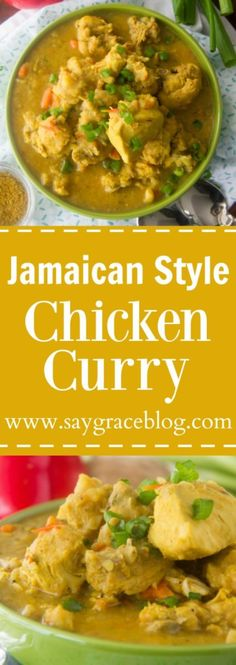 This Authentic Jamaican Style Chicken Curry recipe is loaded with traditional island flavor and will keep you begging for more and more!(Chicken Soup With Potatoes) Jamaican Dishes, Jamaican Recipes, Curry Recipes, Tagine Recipes, Zoodle Recipes, Carribean Food, Caribbean Recipes, Jamaican Curry Chicken, Caribbean Curry Chicken