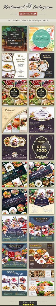 Instagram Restaurant Template - Social Media Web Elements