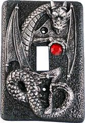 Coiled Dragon Light Switch Plate - With a baleful glare, the dragon challenges all who would wrest the ruby-hued treasure from his grip. This sculpted metal light switch plate will give an instant facelift to any room. Fits a standard single light switch. All you need is a screwdriver.