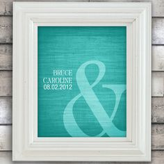 Fun Idea for our photo collage  Ampersand Love - Custom Wedding Date Name Print - 8x10 - Personalized Wedding Gift - Choose Color - Bridal Shower Gift - Engagement Present. $20.00, via Etsy.