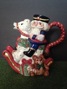 FITZ & FLOYD CHRISTMAS NUTCRACKER SWEETS ROCKING HORSE PITCHER