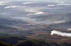 Prades mountains. Winter vineyards fire. CARA NORD celler