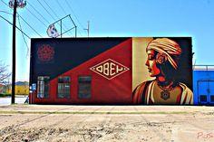 Dallas, Texas - Shepard Fairey's Obey Mural - Singleton & Beckley