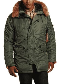 Alpha Industries Men's Slim-Fit Parka Jacket with Removable Faux-Fur Hood Trim, Sage/Orange, Small Mens Parka Jacket, Parka Coat, Garra, Best Parka, Slim Man, Sport Outfits, Cold Weather, Just For You, Style