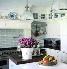 Kitchen… white kitchen marble countertop, sub zero, wood countertop - traditional - kitchen - new york - Susan Serra, CKD Kitchen Design Small, Blue White Kitchens, Small Kitchen, Kitchen Remodel, Kitchen Tiles Design, White Marble Kitchen, Home Kitchens, Kitchen Tiles, Kitchen Design