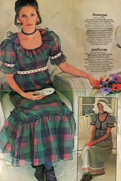 Ruffled plaid organza evening gown and black-and-white gingham evening gown with rickrack trim, Co-Ed Magazine, 1971.