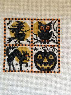 completed cross stitch Prairie Schooler Halloween sampler