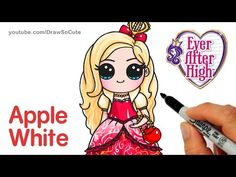 How to Draw Apple White step by step Chibi - Ever After High Kawaii Disney, 3d Drawing Techniques, Drawing Lessons, Cute Girl Drawing, Drawing For Kids, Drawing Ideas, 3d Drawings, Cartoon Drawings, Cartoon Illustrations