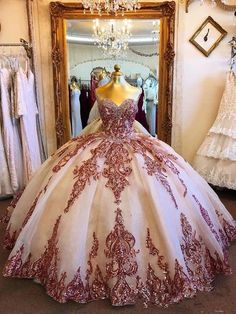 Champagne Tulle Rosewood Appliques Sweet Heart Neckline Ball Gown Quinceanera Dresses Prom Dresses, This dress could be custom made, there are no extra cost to do custom size and color Robes Quinceanera, Pretty Quinceanera Dresses, Cheap Prom Dresses, Prom Party Dresses, 15 Dresses, Formal Evening Dresses, Ball Dresses, Wedding Dresses, Dress Formal
